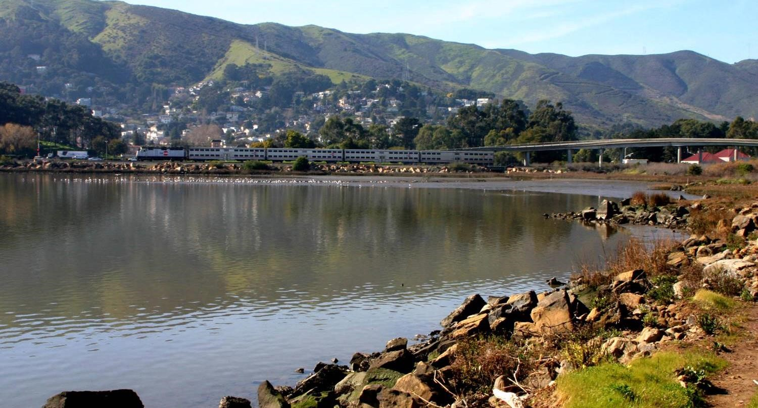 Photo of Caltrain next to Brisbane Lagoon