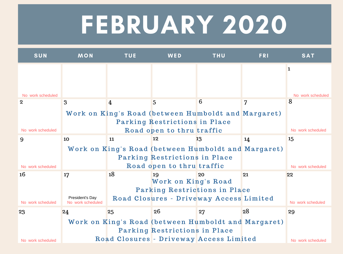 Schedule of work on Kings Road for February 2020