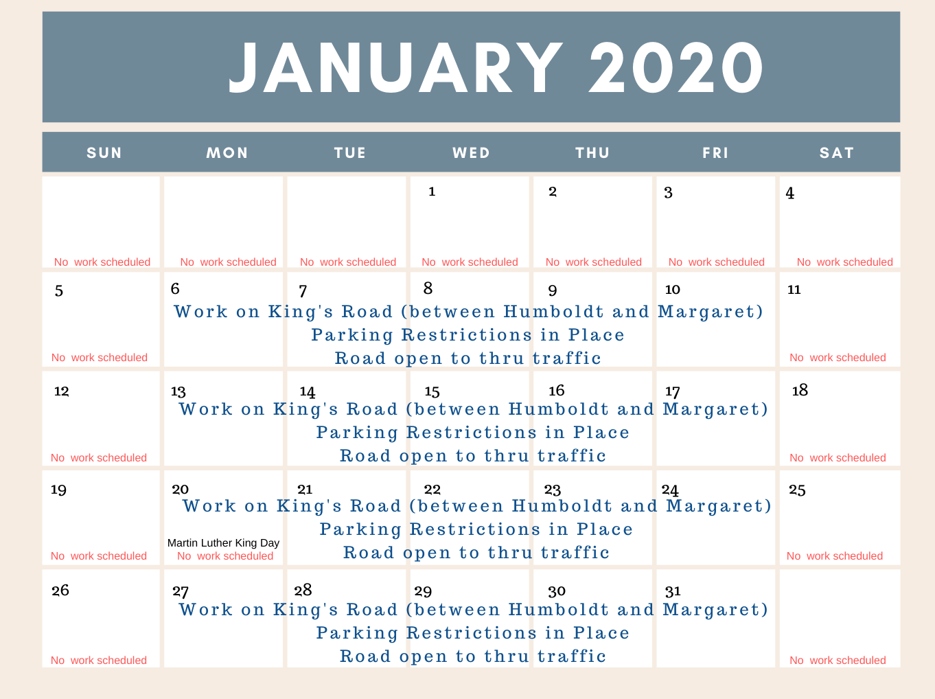 Schedule of work on Kings Road for January