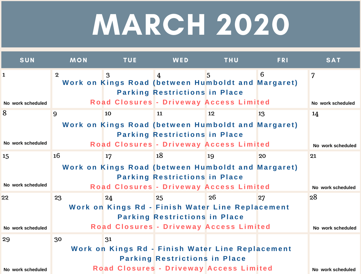 Schedule of work for the Water Main Replacement Project